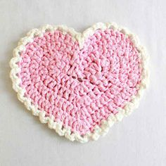 Best Free Crochet » Free Crochet Pattern Pink Heart Placemat #68