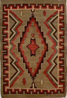 My favorite rug colors and a great pattern. New weavings just don't look like this.
