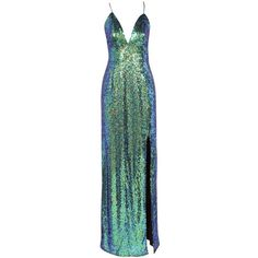 Omari Strappy Plunge Sequinned Maxi Dress ❤ liked on Polyvore featuring dresses, gowns, maxi dresses, green maxi dress, spaghetti-strap maxi dresses, green evening gown, sequin dress and strappy maxi dress