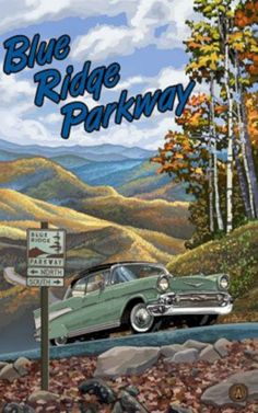 Blue Ridge Parkway Giclee Travel Art Poster by Artist Paul A. Lanquist x 18 inch) Art Print for Bedroom, Living Room, Kitchen, Family and Dorm Room Wall Décor Travel Ads, Travel Photos, National Park Posters, National Parks, Cades, Blue Ridge Parkway, Road Trip Usa, Vintage Advertisements, Vintage Ads