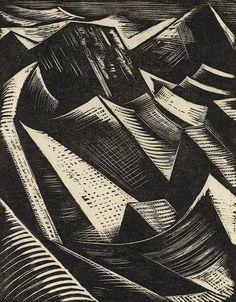 Dry Land Appearing. Paul Nash, 1923. Wood engraving.