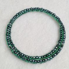 Emerald seed bead memory wire anklet plus size bracelet, $24