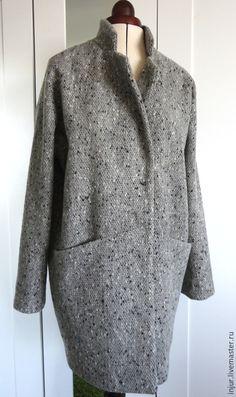 Купить Пальто. Пальто-кокон. Пальто-оверсайз. - серый, пальто, пальто-кокон…