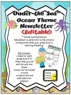 962fa2c41d6a0a286ef11c8b65fa6e4e Ocean Themed Newsletter Template on microsoft word, free printable monthly, free office, classroom weekly, fun company,