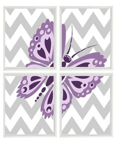 Butterfly Art Print Set - Girl Room Nursery Purple Lavender Gray Chevron - Kid Teenager Wall Art Home Decor Set Of 4 8x10 Prints. $50.00, via Etsy.
