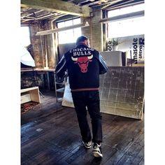 Seen in Boston and American Field. Greenwich Vintage's Master cobbler in that Jordan-era Bulls Starter jacket at Bobby's