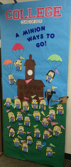 "College week teacher classroom door decor. Minions. ""College: a minion ways to go"""