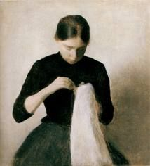 """""""Young Woman Sewing"""" by Hammerchøi"""