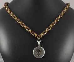 nck079 #Bronze/#Gold Byz #Necklace with #Bear #Claw #Pendant. $50.00, via #Etsy.