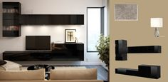 BESTÅ black high-gloss TV bench and wall cabinets with glass doors. I like this look a lot!