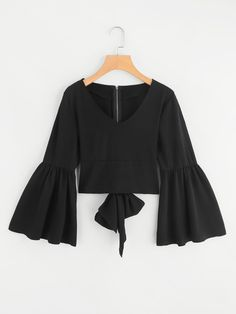 Shop Flare Sleeve Bow Tie Back Blouse online. SheIn offers Flare Sleeve Bow Tie Back Blouse & more to fit your fashionable needs. Teen Fashion Outfits, Casual Outfits, Fashion Dresses, Pretty Outfits, Cute Outfits, Moda Vintage, Blouse Designs, Spring Outfits, The Dress