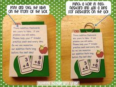Fluttering Through First Grade: Send math flashcards home - freebie labels