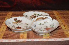 """Vintage Kelvin Fine China Leaf Shaped Divided Nut Candy Bowl Trinket Dish 8 1/4"""" #Kelvin"""