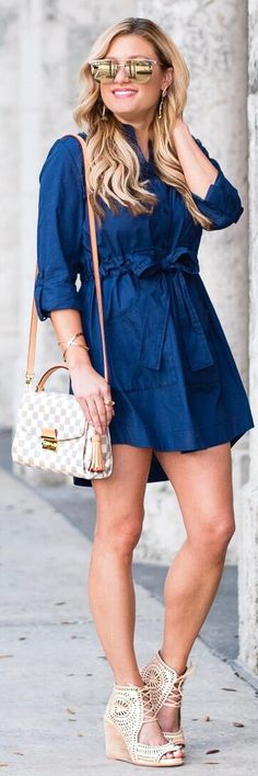 awesome spring outfits /  Navy Dress / White Checked Shoulder Bag / Beige Laced Up Pumps