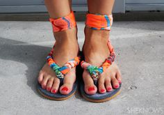 DIY Shoe Tutorial - Make your own scarf sandals. More shoe DIY here: http://www.sewinlove.com.au/2015/10/24/make-diy-lace-up-flats/