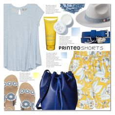 """""""Prints charming: A Short Story V: Blue and Yellow"""" by anna-anica ❤ liked on Polyvore featuring New Look, Urban Decay, Jack Rogers, Bobeau, Clarins, Eve Lom, Gabriella Rocha, Alexander McQueen and printedshorts"""