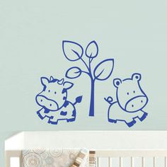 Wall  Decal Vinyl Sticker  Decor Art Bedroom Design Mural Nursery Kids Baby Cow Tree (z776) via Etsy