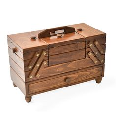 Sewing Box with Drawer 2 - Solid wood - brown