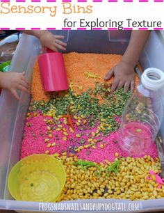 Sensory Bins for Exploring Texture by FSPDT *Great collection of sensory bin ideas for exploring touch with children and so much more...