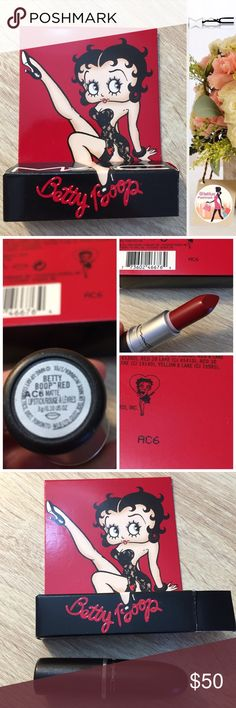 "MAC Betty Boop matte red Limited Edition lipstick NEW IN BOX, MAC Cosmetics ""Betty Boop"" matte red Limited Edition shade and packaging (box). 100% Authentic, please see my feedback and also pictures showing matching serial number on the bottom of the lipstick and box. Never used, never touched, never swatched. Please be respectful in comments, this is a Limited Edition lipstick and is no longer available for sale in stores for the original retail price. 💐 Smoke-free, climate-controlled…"