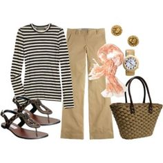 love the stripes and khakis...dressy with jewelry and scarves but casual with the sandals and tote.