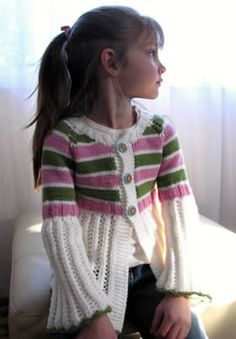 Pink Orchard sweater for girls - free knitting pattern