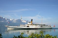 Just loved this styled paddle steamer at Lac Léman (Ou Lac De Genève) Lausanne, Vevey, Steamer, Paddle, Switzerland, Places To Visit, Mountains, Photography, Travel