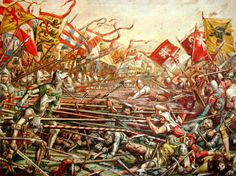 The Battle of Sempach, 1386 between knights of Duke Leopold III of Austria and the Swiss Confederates.
