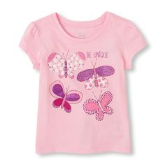 Short Sleeve 'Be Unique' Butterfly Graphic Tee | The Children's Place
