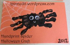 Hand Print Spider Halloween Craft for Jackson's Prechool PJ Halloween party