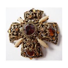 Selini Maltese cross brooch pin Renaissance Revival signed twice rare (220 CAD) ❤ liked on Polyvore featuring jewelry, brooches, maltese cross jewelry, pin brooch, maltese cross brooch, pin jewelry and renaissance jewelry
