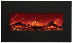 "Amantii Wall Mount Built-In Black Glass Electric Fireplace Width 34""  Depth 5.6""  Height 21"" $999"