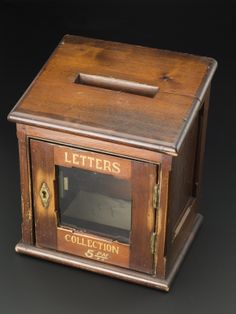 Hospital ward letter box, England, 1870-1910. Letter boxes in asylum wards allowed patients to communicate with the outside world. This example was collected from the Asylum Museum at St Audry's Hospital in Suffolk, England, when the hospital and the museum closed in the late 1980s.