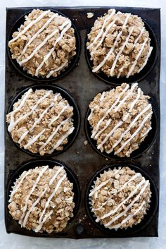 Moist apple muffins topped with a crunchy apple crisp topping. Like, omg.