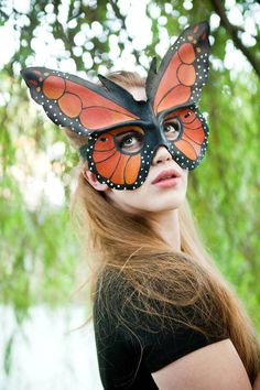 Float away with a monarch butterfly mask, made from high-grade leather and molded by hand.
