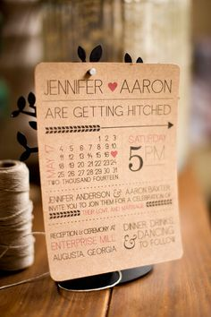Rustic modern fun printable wedding invitation with por JubeeleeArt