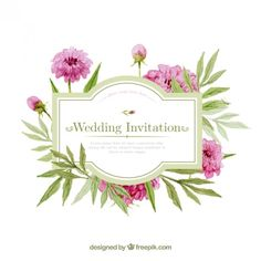 Watercolor wedding invitation with flowers Free Vector Watercolor Wedding Invitations, Wedding Stationery, Wedding Background Images, Logo Floral, Clip Art, Flower Doodles, Flower Cards, Watercolor Flowers, Wedding Cards