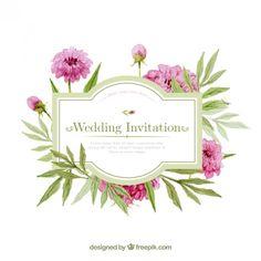 Convite do casamento da aguarela com flores Vetor grátis