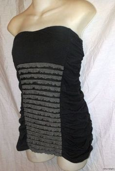 NWT FREE PEOPLE BLACK TOP M Medium Strapless Gray Ruffles Side Ruching Sexy $48