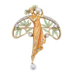 Masriera and Carreras Pearl Plique a Jour Gold Pendant Brooch