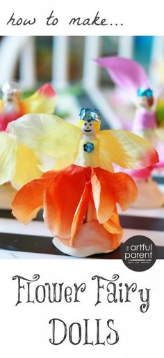A step by step guide on how to make flower fairy dolls from wooden clothespins and artificial flowers. This is a great craft for kids and families! Easy Art For Kids, Crafts For Kids To Make, Projects For Kids, Kids Crafts, School Projects, Art Projects, Art Activities For Kids, Activity Ideas, Fairy Crafts