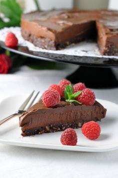 Double Chocolate Mousse Torte. Decadent, delicious, dairy-free, gluten-free and vegan! An easy, no-bake recipe, naturally sweetened with maple syrup. flavourandsavour.com via @enessman