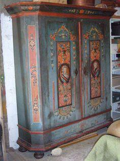 Swiss polychrome armoire, 18th c