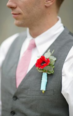 poppy boutonniere - Book of Love Valentine's Day Inspiration by The Funky Shack and Paperlily Photography - via ruffled Groomsmen Boutonniere, Groom And Groomsmen, Groom Suits, Groom Attire, Corsage, Groomsmen Fashion, Flower Bouquet Wedding, Bridal Bouquets, Valentines Day Weddings