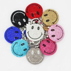 Bling mosaic emoji smile face keychain 9colors