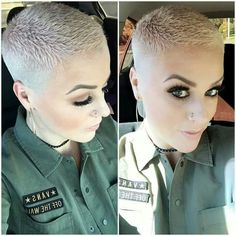 A little selfie action of my homie absolutely rocking her new blush platinum chick fade! Short Hair Syles, Short Punk Hair, Really Short Hair, Short Straight Hair, Short Blonde, Short Hair Cuts For Women, Curly Hair Styles, Short Sassy Haircuts, Short Shag Hairstyles