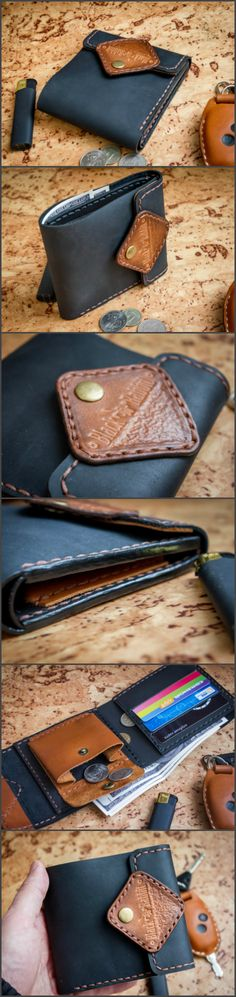 Leather wallet hand made.  Кошелек из натуральной кожи ручной работы. #leather #leatherwallet #leatherwork #leathercraft #blackrabbitrus
