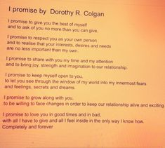 I promise by Dorothy Colgan.  We had this read at our official wedding then read it to each other at our Ibizan ceremony <3