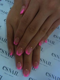 neon pink french nails...♥♥I am doing this for sure!