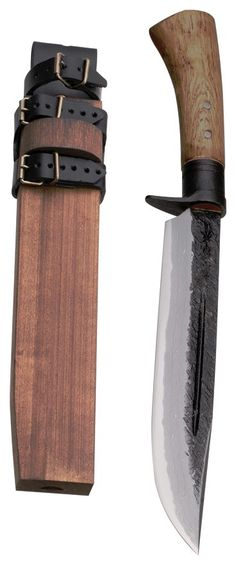 Kanetsune - Waza, 9.45 in. 15 Layer Damascus Fixed Blade Knife, Oak, Wooden Sheath